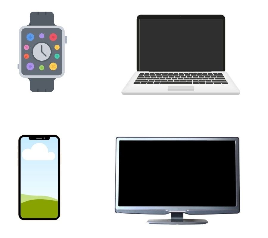 phone, smart watch, laptop, smart tv