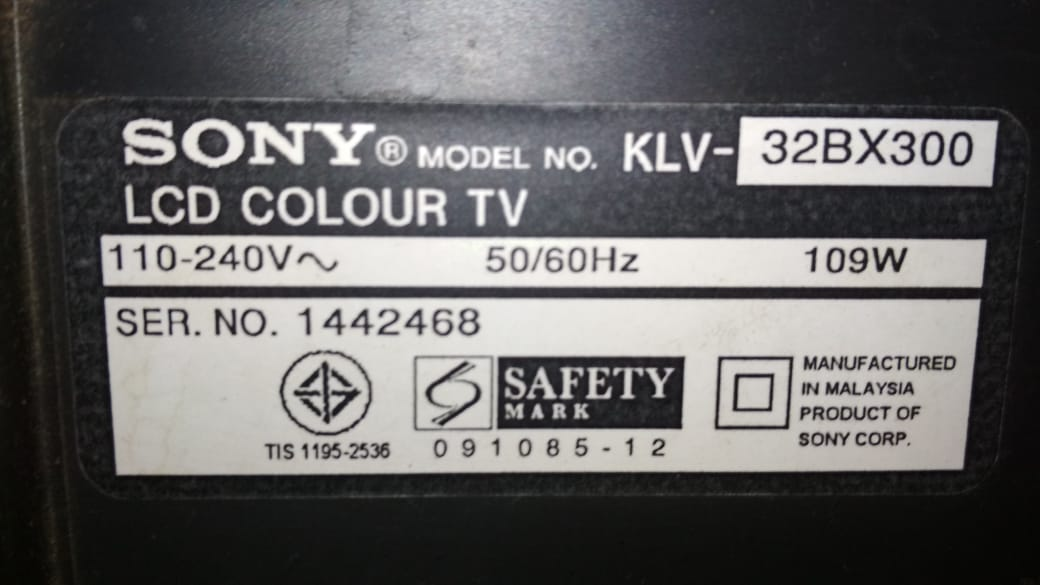 sony 32bx300 operational voltage